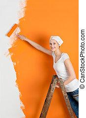 γυναίκα , τοίχοs , σπίτι , νέος , ζωγραφική , έλκυστρο