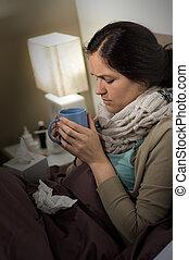 γυναίκα , τσάι , γρίπη , άρρωστος , κρύο , πόσιμο