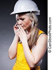 γυναίκα , τσιγάρο , νέος , τηλέφωνο , δομή , αρχιτέκτονας , εργάτης
