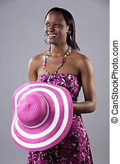 γυναίκα , υπέροχος , νέος , ευφυής , αφρικανός , φόρεμα , νότιο