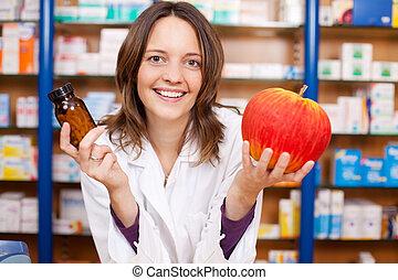 γυναίκα , φαρμακοποιός , αμπάρι ανιαρός δέμα , και , ένα , τεχνητό , μήλο