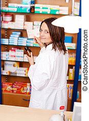 γυναίκα , φαρμακοποιός , κράτημα , γιατρικό δέμα
