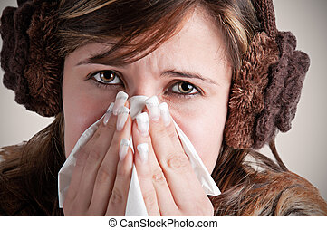 γυναίκα , φταρνίζομαι , άρρωστος