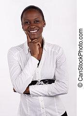 γυναίκα , φωτογραφηκή μηχανή , νότιο , νέος , εταιρικός , αφρικανός , χαμογελαστά , υπέροχος , φόντο. , φορώ , άσπρο