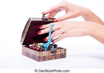 γυναίκα , χέρι , κουτί , ανοιγμένα