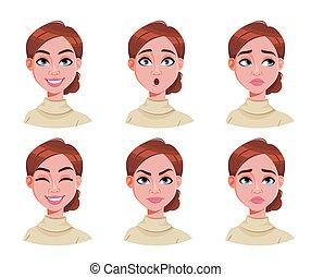 γυναίκα , χαριτωμένος , μαλλιά , εκφράσεις , καφέ , ζεσεεδ