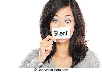 γυναίκα , χαρτί , σιωπηλός