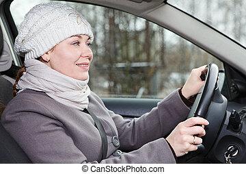 γυναίκα , χειμώναs , οδήγηση , αυτοκίνητο , εσωτερικός , ρούχα , βλέπω
