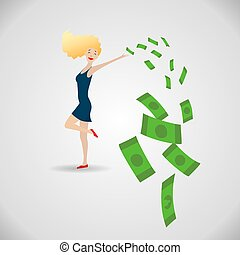 γυναίκα , χρήματα , περιβάλλω , νέος , πράσινο , ευτυχισμένος