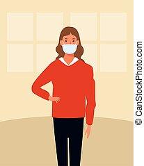 γυναίκα , χρησιμοποιώνταs , ζεσεεδ , σπίτι , μάσκα , covid19