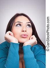 γυναίκα , όμορφη , ονειροπόληση , - , επιθυμών , γενική ιδέα