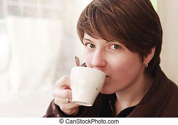 γυναίκα , όμορφος , κύπελο , καφέs