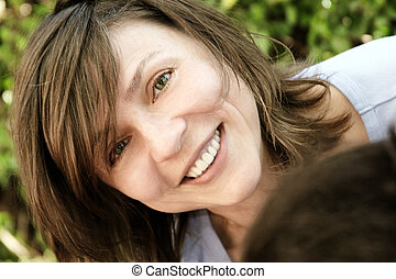 γυναίκα , ώριμος , ευτυχισμένος