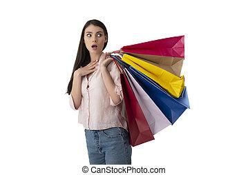 γυναίκα , bags., απομονωμένος , φόντο , ψώνια , άσπρο , έκφραση , έκπληκτος , ευτυχισμένος