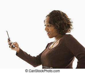 γυναίκα , cellphone.