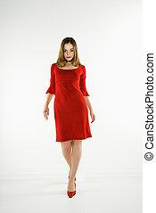 γυναίκα , dress., κόκκινο