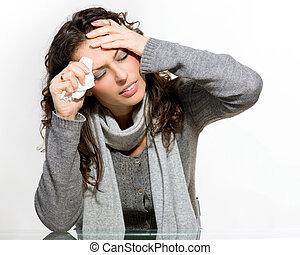 γυναίκα , flu., πρλθ. του catch , άρρωστος , κρύο , woman.