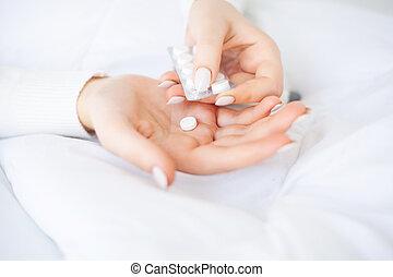γυναίκα , flu., χέρι , κρεβάτι , κρύο , κρατάω , ανιαρός , κειμένος