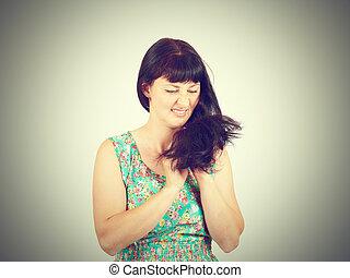 γυναίκα , hairs., αυτήν , προβληματικός , νέος , παρουσιαστικό