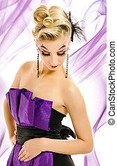 γυναίκα , hairstyle , αφαιρώ , μακιγιάζ , μοντέρνος , φόντο , δημιουργικός , φόρεμα , όμορφος