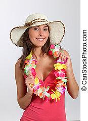 γυναίκα , hawaiian , εξοπλισμός