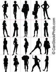 γυναίκα , illustra , silhouettes., μικροβιοφορέας