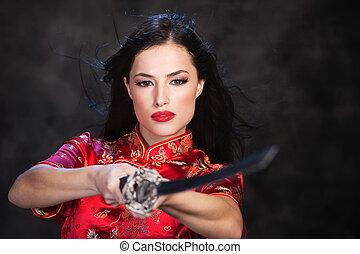 γυναίκα , katana/sword
