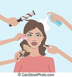 γυναίκα , make-up.