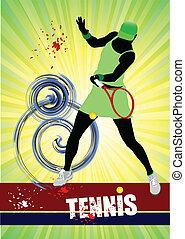 γυναίκα , poster., παίχτης , colore , τένιs