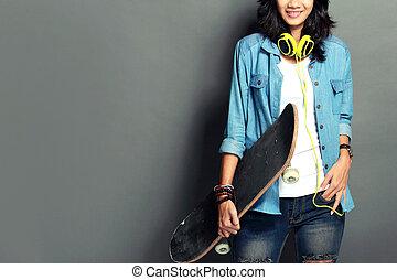 γυναίκα , skateboard