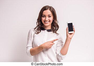 γυναίκα , smartphone