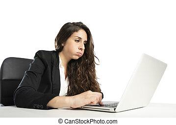 γυναίκα , snorts, γραφείο , laptop , χρόνος , βαριεστημένα , εργαζόμενος