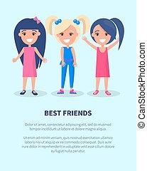 γυναίκες , αφίσα , δεσποινάριο , τρία , δραστήριος , φίλοι , καλύτερος