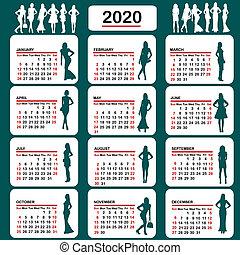 γυναίκεs , απεικονίζω σε σιλουέτα , 2020, ημερολόγιο