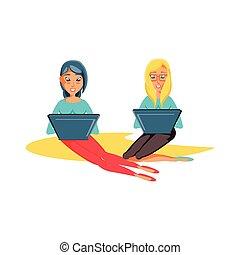 γυναίκεs , laptop ηλεκτρονικός εγκέφαλος , νέος , κάθονται