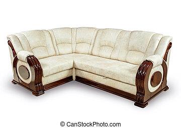 γωνία , απομονωμένος , καναπέs , φόντο. , δρόμος , ατραπός , άσπρο