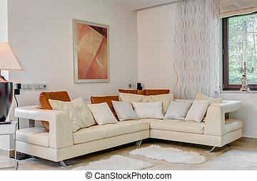γωνία , κρέμα , καναπέs