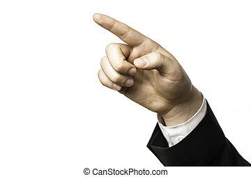 δάκτυλο , από , ένα , επιχειρηματίας , άγκιστρο στερέωσης ρούχων εις , κάτι