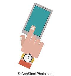 δάκτυλο , αφορών , ένα , smartphone, οθόνη