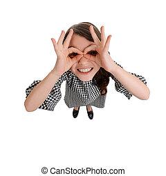 δάκτυλο , γυαλιά , άσπρο , κατασκευή , φόντο , κορίτσι , ...