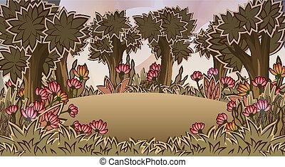 δάσοs , λουλούδια , λιβάδι , σκηνή