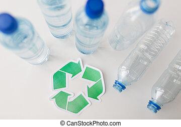 δέμα , σύμβολο , ανακύκλωση , πάνω , πλαστικός , κλείνω