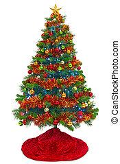 δέντρο , απομονωμένος , άσπρο , φούστα , xριστούγεννα , κόκκινο