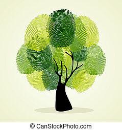 δέντρο , δάκτυλο , φόντο , θέτω , αποτυπώματα