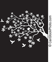 δέντρο , ιπτάμενος , περίγραμμα , πουλί