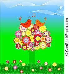 δέντρο , με , αγάπη πουλί