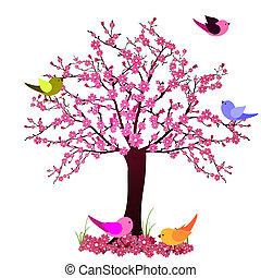δέντρο , με , πουλί