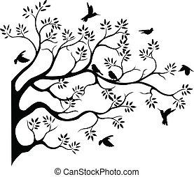 δέντρο , περίγραμμα , με , πουλί , fying