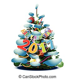 δέντρο , πεύκο , έτος , καινούργιος , 2017, κάρτα , ευτυχισμένος