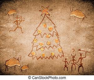 δέντρο , προϊστορικός , ζωγραφική , βυθίζομαι , xριστούγεννα
